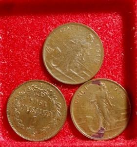 obverse: Lotti.Casa Savoia.Lotto di 3 Monete da 1 Centesimo,mediamente SPL