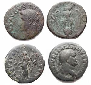 obverse: Lotti - Lot of 2 pieces Ae. Vespasianus As gr 13,15. mm 26,9 Divus Avgvstvs / Eagle gr 9,53. mm 26,9