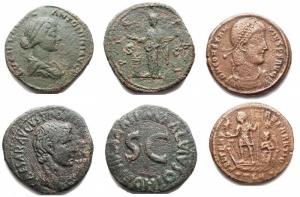 obverse: Lotti - Lucilla Asse, Augusto monetari Asse, Costanzo II Ae. Lotto di 3 pezzi