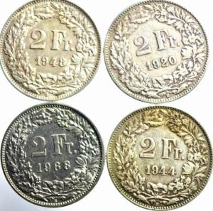 obverse: Lotti.Estere.Svizzera lotto di 4 monete da 2 franchi,presenti il 1920\44\48\68 conservazione come da foto.