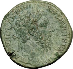 obverse: Marcus Aurelius (161-180).. AE Sestertius, 179 AD