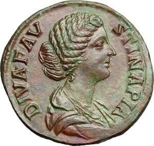 obverse: Faustina II, wife of Marcus Aurelius (died 176 AD).. AE Sestertius, Rome mint, struck under M. Aurelius
