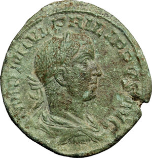 obverse: Philip II (246-249).. AE Sestertius, Rome mint, 246-249.ì AD