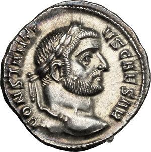 obverse: Constantius I Chlorus as Caesar (293-305 AD).. AR Argenteus, Ticinum mint, c. 294 AD