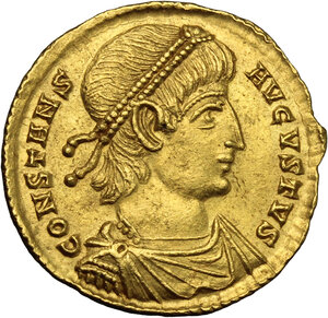 obverse: Constans (337-350).. AV Solidus, Treveri mint, 345 AD