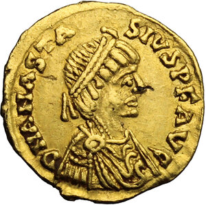 obverse: Ostrogothic Italy. Theoderic (493-526).. AV Tremissis in the name of Anastasius I, Rome mint, c. 493-518 AD