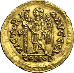 reverse: Ostrogothic Italy, Athalaric (526-534).. AV Solidus in the name of Justinian I, Rome mint, c. 527-530 AD