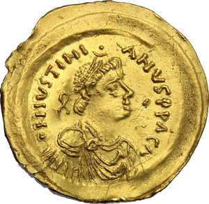 obverse: Ostrogothic Italy, Athalaric to Witigis.. AV Tremissis in the name of Justinian I. Rome or Ravenna mint, 527-540 AD