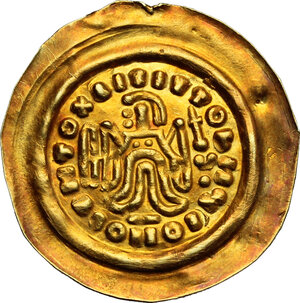 reverse: Lombardic Italy. Authari (584-590) to Agilulf (590-615).. AV Tremissis in the name of Maurice Tiberius (582-602). Struck c. 584-615 AD, Lombardy