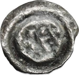 reverse: Lombardic Italy. Perctarit (661-662, 671-688).. AR Unit (Half Siliqua?) Pavia mint
