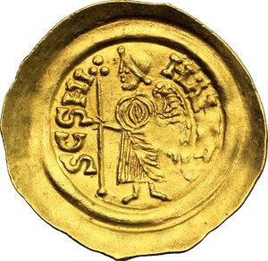 reverse: Lombardic Italy. Aripert II (700-712).. AV Tremissis, Lombardy and Tuscany
