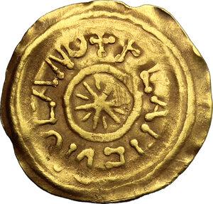 obverse: Lombardic Italy. Desiderius (757-774).. AV Tremissis, Mediolanum mint