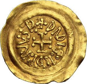 reverse: Lombardic Italy. Desiderius (757-774).. AV Tremissis, Mediolanum mint