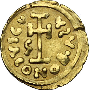 reverse: The Lombards at Beneventum. Gregory (732-739).. AV Tremissis in the name of Justinian II (685-695, 705-711)