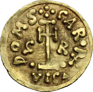 reverse: The Lombards at Beneventum. Grimoald III, with Charlemagne, king of the Franks (788-806).. AV Tremissis