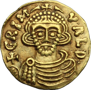 obverse: The Lombards at Beneventum. Grimoald III, with Charlemagne, king of the Franks (788-806).. AV Tremissis