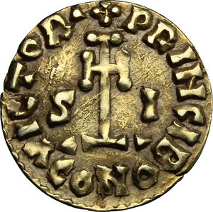 reverse: The Lombards at Beneventum. Sicard (832-839).. Pale AV Tremissis