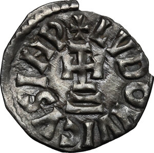 reverse: The Lombards at Beneventum. Adelchis (833-878).. AR Denarius, in the name of Louis II Emperor and Angilberga