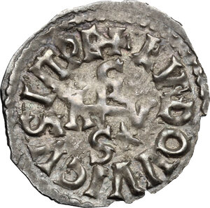 reverse: The Lombards at Beneventum. Adelchis (833-878).. AR Denarius, in the name of Louis II Emperor and Angilbrga