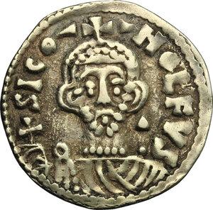 obverse: The Lombards at Salerno. Siconulf, Usurper in Salerno (839-849).. Pale AV Solidus