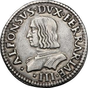 obverse: Ferrara.  Alfonso I d Este (1505-1534). Testone o quarto