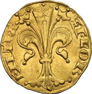 obverse: Firenze.  Repubblica (sec. XIII-1532).. Fiorino d oro stretto, V serie, 1304 - 1310, maestro di zecca sconosciuto. Simbolo tenaglie chiuse