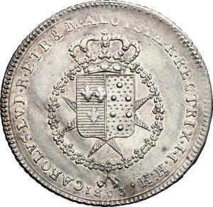 obverse: Firenze.  Carlo Ludovico di Borbone e Maria Luigia reggente (1803-1807). Lira 1803