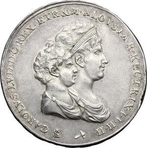 obverse: Firenze.  Carlo Ludovico di Borbone e Maria Luigia reggente (1803-1807). Mezzo scudo da 5 lire o mezza dena 1803
