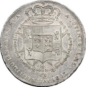 reverse: Firenze.  Carlo Ludovico di Borbone e Maria Luigia reggente (1803-1807). Mezzo scudo da 5 lire o mezza dena 1803