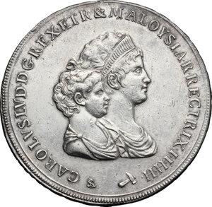 obverse: Firenze.  Carlo Ludovico di Borbone e Maria Luigia reggente (1803-1807). Scudo da 10 lire fiorentine o dena 1805