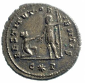 reverse: Impero Romano.Aureliano AE Antoniniano .Cyzicus a 272-274 d.C. D\IMP AVRELIANVS AVG, busto radiato a destra R/ RESTITVT ORIENTIS, donna inginocchiata a sinistra aiutata da Aureliano con lancia, in esergo C stella R. RIC 351, Cohen 204; Sear 11596.Peso 4,20 gr.Diametro 23,00 mm.BB+\SPL.R
