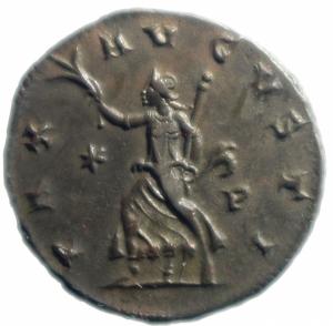 reverse: Impero Romano. Aureliano. 270-275 d.C. Antoniniano. D/ IMP AVRELIANVS AVG Busto radiato verso destra. R/ PAX AVGVSTI La pax andante verso sinistra. Peso 3,45 gr. Diametro 22,5 mm. BB\qSPL.