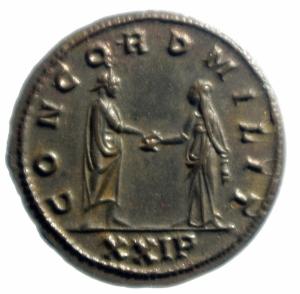 reverse: Impero Romano.Tacito (275-276). Antoniniano. Serdica. D/ IMP C M CL TACITVS P AVG. Busto radiato, drappeggiato e corazzato a destra. R/ CONCORD MILIT. L imperatore e la Concordia, stanti uno di fronte all altra, si stringono la mano. In esergo: XXIP. Cf. RIC 183 var. AE. g. 4,10 mm. 22.00 R. SPL. Raro. Argentatura completa.
