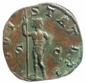 reverse: Impero Romano. Gordiano III. 238-244 d.C. Sesterzio. Ae. D/ IMP GORDIANVS PIVS FEL AVG Busto verso destra. R/ IOVI STATORI Giove in piedi a destra tiene uno scettro e fulmine. RIC.298a. Peso 14,75 gr. Diametro 28,00 mm. qSPL.