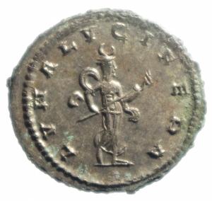 reverse: Impero Romano. Gallieno. 253-268 d.C. Antoniniano. AE. 267 d.C. Antiochia. D\ GALLIENVS AVG, Testa radiata a destra. R/ LVNA LVCIF, la Luna cammina a destra. RIC 609A. Asian Mint; Goebl 1665i; Sear 10284. Peso 4,10 gr. Diametro 22,00 mm.SPL+. Argentatura Completa. R.