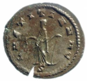 reverse: Impero Romano. Gallieno. 253-268 d.C. Antoniniano. Ae. D/ GALLIENVS AVG.Testa radiata a destra. R/ LAETITIA AVG la Letizia verso sinistra con corona. RIC.489. Peso 4,05 gr. Diametro 22,00 mm. BB+.