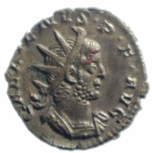 obverse: Impero Romano.Gallieno. 258-259 d.C. Antoniniano. Ag. D\ IMP GALLIENVS AVG Busto radiato a destra.R/ VICT G E R MANICA Victoria andante a sinistra con lancia .RIC 44. Peso 2,70 gr. Diametro mm. 21,7. qSPL.RR