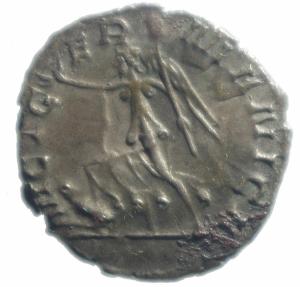 reverse: Impero Romano.Gallieno. 258-259 d.C. Antoniniano. Ag. D\ IMP GALLIENVS AVG Busto radiato a destra.R/ VICT G E R MANICA Victoria andante a sinistra con lancia .RIC 44. Peso 2,70 gr. Diametro mm. 21,7. qSPL.RR