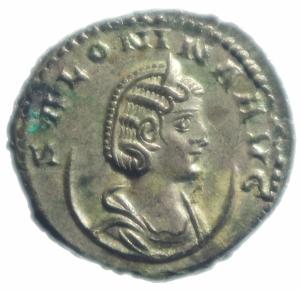 obverse: Impero Romano Salonina 254-268 d.C. Antoniniano Ag . D\ SALONINA AVG Testa diademata verso destra R\ VENVS AVG Venus in piedi verso a sinistra con scudo e lancia e una mela. RIC 86 Peso 3,65 gr Diametro 20,00 mm.SPL.