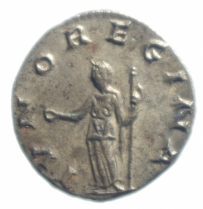 reverse: Impero Romano. Salonina. 253-268 d.C. Antoniniano. Ag. D/ SALONINA AVG Busto verso destra. R/ IVNO REGINA Giunone con scettro e patera. Peso 3,55 gr. Diametro 21,00 mm.SPL.