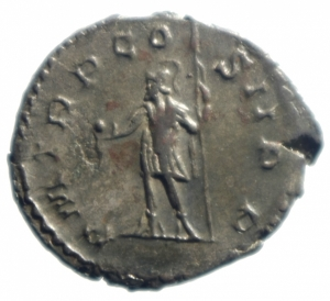 reverse: Impero Romano. Postumo. 259-268 d.C. Antoniniano. Ag : D/ Busto radiato a destra. R/ PM TR P COS III PP Marte stante a sinistra con globo e lancia. Peso 4,00 gr. Diametro 23,2 mm. SPL+.