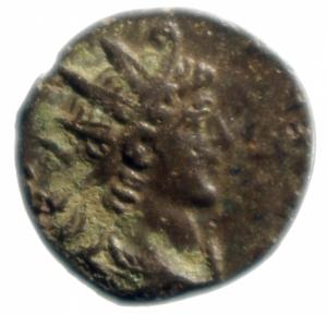obverse: Impero Romano. Tetrico II. 270-273 d.C. Antoniniano. AE. D/ C PIV ESV TETRICVS CAES, Busto radiato verso destra. R / SPES AVGG, Spes cammina verso sinistra con fiore. RIC 270. Cohen 87. Sear5 11292. Peso 1,65 gr. Diametro 15,15 mm.qSPL.