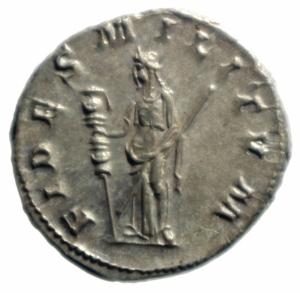 reverse: Impero Romano. Gordiano III. 238-244 d.C. Antoniniano. D/ IMP GORDIANVS PIVS FEL AVG Busto radiato verso destra. R/ FIDES MILITVM Fides stante verso sinistra due stendardi. RIC.209. Peso 4,65 gr. Diametro 23,46 mm.qFDC\SPL.