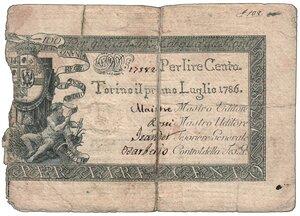 obverse: Regno di Sardegna - Vittorio Amedeo III - Regie Finanze 100 Lire 1 luglio 1786