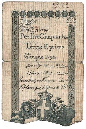 obverse: REGNO DI SARDEGNA - Vittorio Amedeo III - 50 Lire