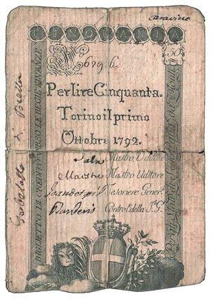 obverse: Regno di Sardegna - Vittorio Emanuele III - Regie Finanze 50 Lire