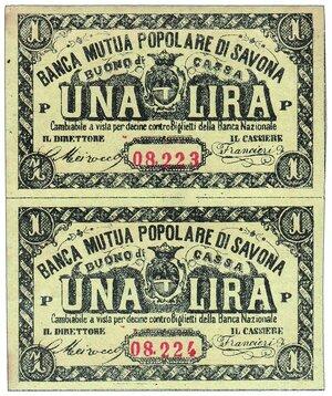 obverse: SAVONA Banca Mutua Popolare - Lira - buono di cassa 2 biglietti