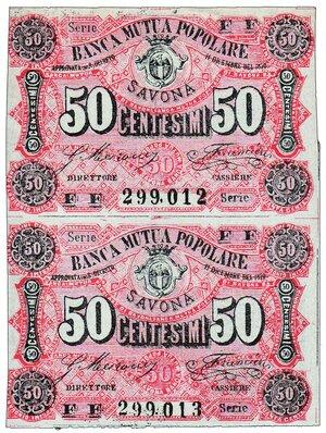 obverse: SAVONA Banca Mutua Popolare - 50 centesimi 2 biglietti