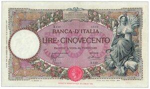 obverse: Regno - 500 Lire Mietitrice 21/03/1934