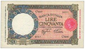 obverse: Regno - 50 Lire Lupa 16/12/1936